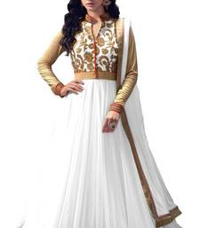 Buy White net semi stitiched salwar with dupatta semi-stitched-salwar-suit online