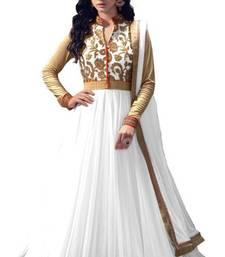 Buy White net semi stitiched salwar with dupatta semi-stitched-salwar-suit online