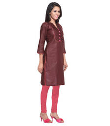 Buy Brown Color Stitched Kurti In Cotton Fabric. party-wear-kurti online