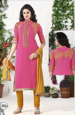 Pink Georgette Embroidered Straight Suit Dress Material