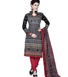 Buy Black printed cotton unstitched salwar with dupatta salwars-and-churidar online