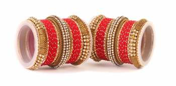 Traditional Red Bridal Bangle Set For Two Hands