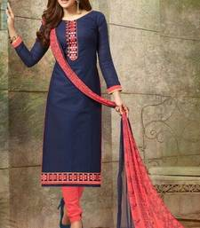 Buy Blue embroidered cotton salwar straight-suit online