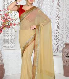 Buy New Look Beige Color Faux Georgette Saree With Blouse georgette-saree online