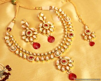 Kundan Meenakari Fusion Ruby Necklace Set