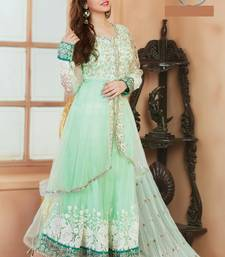 Buy Green georgette embroidered  semi stitiched salwar with dupatta semi-stitched-salwar-suit online