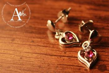 Fairy Heart Silver Shape, Pink-Puple Crystal Earrings Brushed Silver attached Pink Colored Gemstone