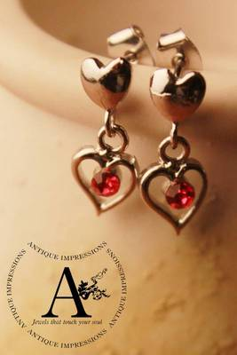 Fairy Heart Silver Shape, Red Blood Crystal Earrings Brushed Silver attached Red Colored Gemstone