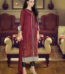 Buy Maroon embroidered georgette unstitched salwar with dupatta dress-material online