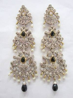 ANTIQUE VICTORIAN WHITE N BLACK STONE STUDDED PEARLS HANGINGS