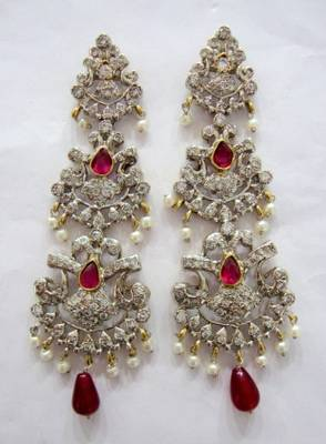 ANTIQUE VICTORIAN WHITE N RED STONE STUDDED PEARLS HANGINGS
