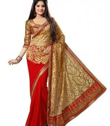 Buy Red brasso faux georgette saree with blouse brasso-saree online