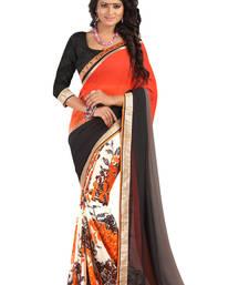 Buy Orange printed faux georgette saree with blouse printed-saree online