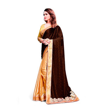 brown embroidered velvet saree With Blouse