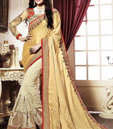 Buy Yellow Embroidery Geogrette saree with blouse heavy-work-saree online