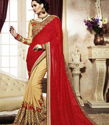 Buy Red and Yellow Embroidery Geogrette saree with blouse heavy-work-saree online