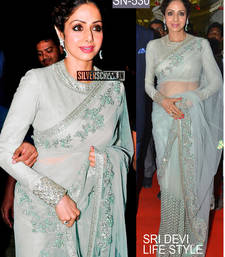 Buy Off white embroidered net saree with blouse sridevi-saree online
