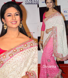 Buy White embroidered georgette saree with blouse pre-stitched-saree online