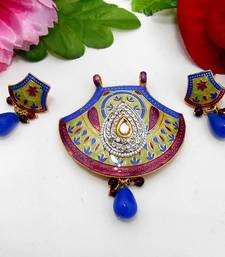 Buy Meenakari Traditional Pendant Set Violet Blues Necklace online