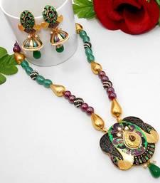 Buy Meenakari Exclusive Necklace Green Violet Black Necklace online