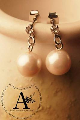 Real Pearl Snowwhite Earrings,Diamond Studded Brushed Silver attached loop