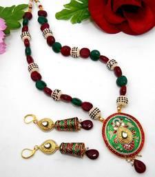 Buy Meenakari Oval Necklace Green Maroon 2 Necklace online