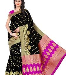 Buy Black woven banarasi saree with blouse banarasi-saree online