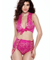 Buy Pink Nylon and Spandex sexy swimwear swimwear online