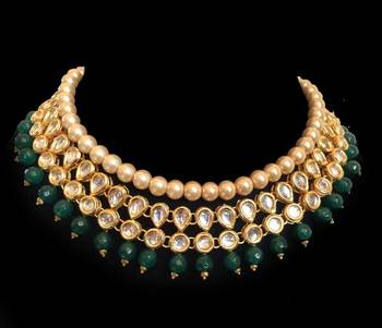 Kundan And Green Semi Precious Onyx Gemstone Choker Necklace