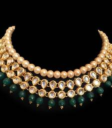 Buy Kundan and Green Semi precious Onyx Gemstone Choker Necklace Necklace online