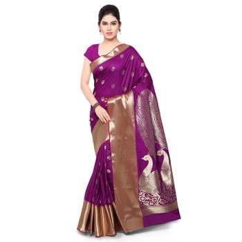 Purple zari art silk saree with blouse