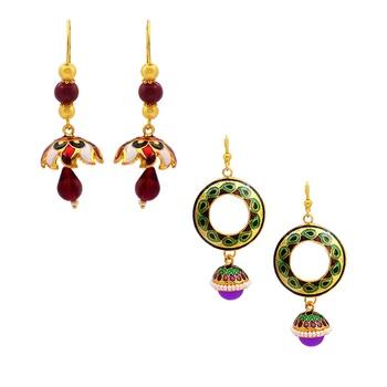 Elegant meenakari combo earring set