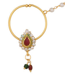 Buy Nath Bridal Nose Ring with Chain Nose Rings For Wedding nose-ring online