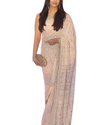 Buy Off white embroidered georgette saree with blouse aishwarya-rai-saree online