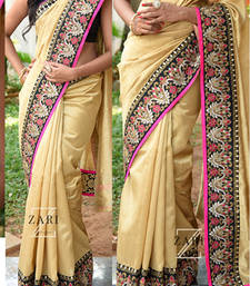 Buy Gold embroidered silk saree with blouse silk-saree online