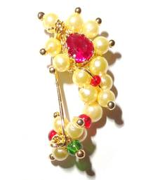 Nath Extra Small Clip type Maharashtrian traditional Nose ring of Pearl bead