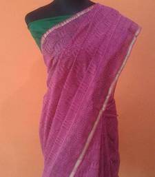 Buy pink Paisley chanderi cotton saree cotton-saree online
