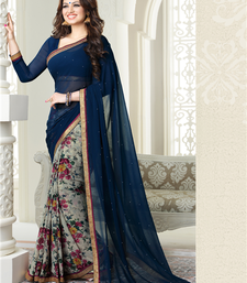 Buy Navy blue floral print georgette saree with blouse light-weight-saree online