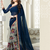 Navy blue floral print georgette saree with blouse