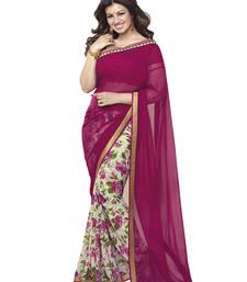 Buy Pink floral print georgette saree with blouse georgette-saree online