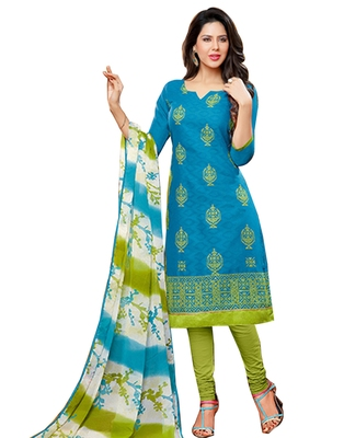 Blue embroidered cotton unstitched salwar with dupatta