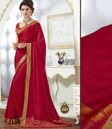 Buy red plain crepe saree with blouse crepe-saree online