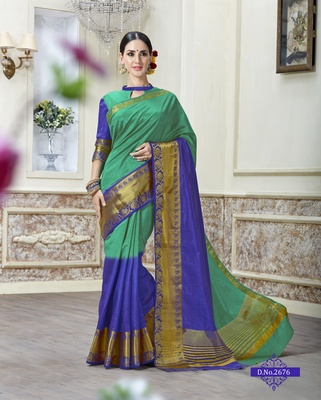 Green woven tusser silk saree with blouse