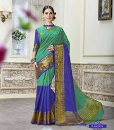 Buy Green woven tusser silk saree with blouse tussar-silk-saree online