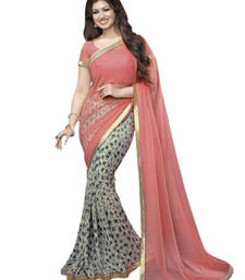 Buy Pink floral print georgette saree with blouse women-ethnic-wear online