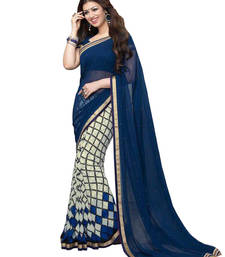 Buy Blue floral print georgette saree with blouse georgette-saree online