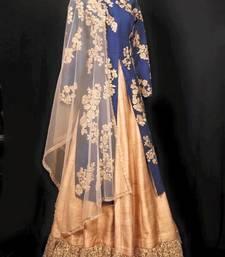 Buy Navy Blue silk embroidery semi stitiched Lehenga choli silk-georgette-salwar online