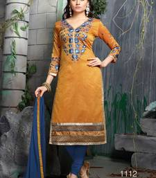 Buy Yellow embroidered chanderi unstitched salwar with dupatta dress-material online