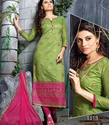 Buy Green embroidered chanderi unstitched salwar with dupatta salwars-and-churidar online