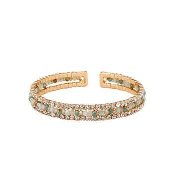 Natural Beads and Rhinestones Italian Designer Cuffs-Aveza Aqua Bead Cuff
